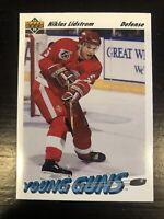 91-92 Upper Deck Young Guns RC #587 Niklas Lidstrom Rookie + Steve Yzerman Card!