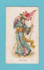 NATIONS - WILLS SCISSORS -  RARE  FLAG  GIRLS  CARD  -  JAPAN  -  1908