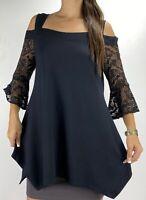 TAKING SHAPE TS Black Crochet Bell Sleeve Cold Shoulder Top Plus Size XS 14 Boho