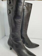 Tahari Womans Black Leather Long Boots 8.5M