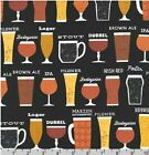 Cheers! Craft Beer Fabric-Cotton 1 yd•BTY•! So Unique, Must See! 2020 Print!