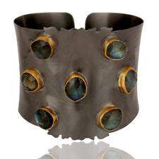 Black Oxidized Labradorite Textured Cuff Fashion Cuff Bangle Jewelry