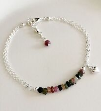 WATERMELON TOURMALINE BRACELET STERLING SILVER DESIGNER OCTOBER BIRTHSTONE GIFT