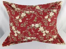 One (1) Floral STANDARD PILLOW SHAM Cotton Burgundy Green Shabby Chic Cottage