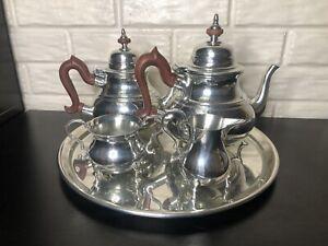 Kirk Stieff Pewter Williamsburg Tea Set Teapot Creamer Sugar Tray Coffee