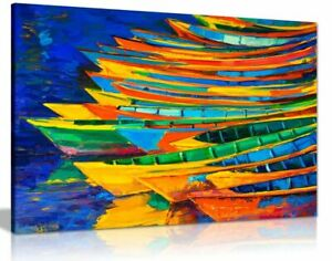 Oil Painting Modern Impressionism Boats Sea Canvas Wall Art Picture Print