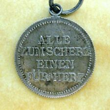 Antique German Silver Rhyming Love Token Charm All for Fun One for the Heart