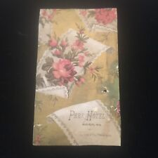 1885 Park Hotel Menu Victorian Trading Card Madison Wisconsin