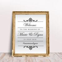 Custom Wedding Welcome Sticker Mirror Frame Venue Event Sign Decor Vinyl Decal