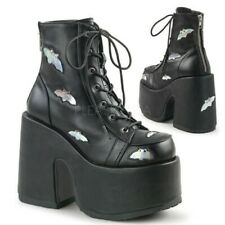 Demonia Camel 201 Black Boots with silver hologram bats- Size 5