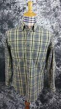 Mens S L.L. Bean green/blue plaid button front shirt small
