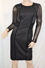 M&S Ltd Edition BNWT Size 6 Gorgeous Little Black Bodycon Mesh Velvet Dress LBT
