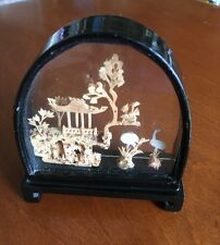 Vtg Chinese Miniature Carved Cork Glass Art Display Pagoda Trees Birds in Case