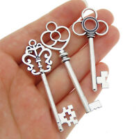 Lot of (x6) Vintage Silver Alloy Pendants Charms Key Shaped Craft Mixed Kinds