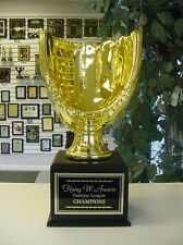 FANTASY BASEBALL PERPETUAL TROPHY 16 YEARS GOLD ON BLACK CUBE  SLEEK!