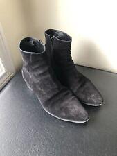 CELINE Men's Black Suede Chelsea Boot Ankle Distressed Almond Toe Size US 9 EU42