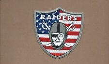 NEW 3 7/8 X 4 INCH OAKLAND RAIDERS USA SHIELD IRON ON PATCH FREE SHIPPING