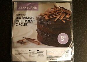 """Lakeland Non Stick Baking Parchment Cirlces 20cm(8"""") Pack of 100 Sheets"""
