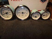 TELEFLEX SILVER OFF-WHITE INBOARD OUTBOARD 4 PIECE MARINE BOAT GAUGE SET B-20