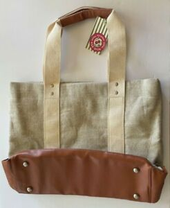 NEW BATH & BODY WORKS 2013 SPRING VIP TOTE SHIMMER CANVAS FAUX LEATHER BAG NWT