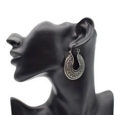 Carved Hoop Earrings Leverback Totems African Tribal Gypsy Antique Silver Tone
