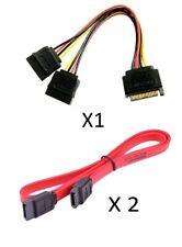15 Pin SATA Male to 2x SATA Female Power Splitter Cable 20cm + 2 HDD SATA Cables