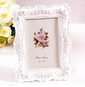 "Pastoral Style 4x6"" Photo Frame Ivory Rose Flower Decoration Square Shape"