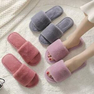 Womens Furry Slippers Casual Non-Slip Flats Home Slippers Comfort Warm Soft