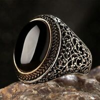 AAA Quality Sterling 925 Silver Mens Jewelry,Elegant Black Onyx Men's Ring