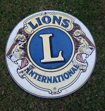 "Vintage Lions Club International Sign 30"" Metal Round fraternal LCI"