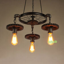 Vintage Led Industrial Gear Chain Drop Light Pendant Lamp Ceiling Light Fixtures