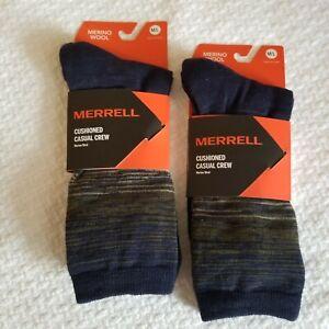 Merrell Merino Wool Hiking Cushioned Crew Peacoat 2 NEW Pair Socks & Bonus Pair
