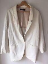 ZARA Women's Size Medium White Oversize Blazer Jacket Coat <L6344