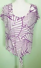 Bisou Bisou Sheer Shirt Womens Purple Geometric Front Tie Small Drop Shoulder
