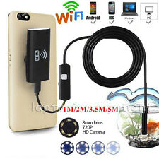 5M 8mm Wireless Endoscope WiFi Borescope Inspection Camera Fr iPhone iOS Android