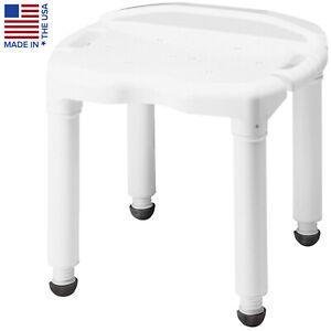 Shower Safety Chair Bath Seat Adjustable Height Non Slip Legs Rust Free Carex