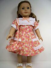 "1940's Style Orange Floral Dress Purse Doll Clothes For 18"" American Girl (Debs)"