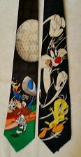 2 Novelty Ties Taz and Daffy Playing Golf 1996 and Sylvester and Tweety 1995