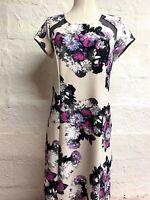 INC Sheath Dress XL Floral Purple Cap Sleeve Mesh Stretch Knee Length Stretch