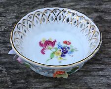 Small Old Vintage Porcelain China Basket Bowl Dish With Relief Floral Detail