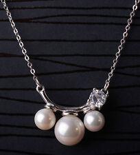 Halskette Anhänger 925 Sterling Silber Glas Perlen Zirkonia