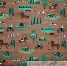 BonEful Fabric Cotton Quilt Brown Country Colonial Scenic Hunt Dog Horse L SCRAP