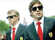 Fernando ALONSO & Kimi RAIKKONEN Autograph SIGNED 16x12 Photo FERRARI AFTAL COA