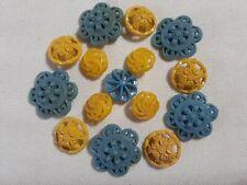 15 PIERCED FLORAL YELLOW BLUE LACE RIBBON VINTAGE PLASTIC SHANK BUTTONS
