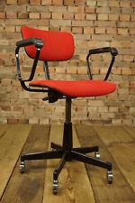 Vintage Stoll Giroflex Chaise de Bureau Pivotante Table Tissu Rouge 70er