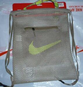 Nike Sports Gymsack Mesh Training Bag Gym Sack Drawstring Team Kit KHAKI /YELLOW