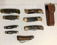 Lot 8 Vintage Pocket & Lock Blade Knifes Browning Buck Schrade Ka-Bar Edge Mark