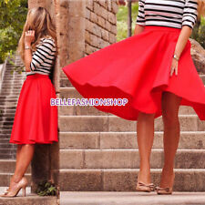Women  High Waist Plain OL Flared Pleated Long Skirt A Line Midi Dress  #112
