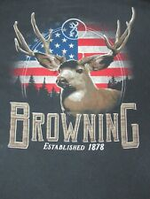 BROWNING - DEER & FLAG GRAPHIC - LONG SLEEVE - MEDIUM - BLACK T-SHIRT- C1609