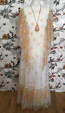 *Vintage* 60s 70s White Floral Chiffon Maxi Dress Size 10 12 Boho Hippy Folk